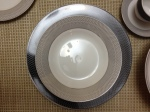 Here is a bowl on top of a dinner plate so you can see the pattern contrast