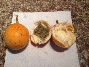 Here is a picture of the whole fruit, then one opened with seeds in one side and scooped out of the other.