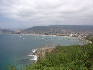 View from an overlook of the beautiful harbor and town of Puerto Lopez