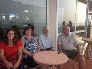 Sophie, Elaine, Bill & Terry at our cocktail place overlooking the Pacific ocean.