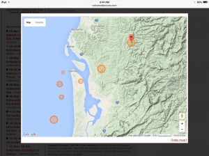 The earthquake site actually shows 3 separate simultaneous quakes a short distance apart - 7.8, 7.7 and 7.4 (the smaller circles are much smaller quakes that happened earlier in the day).