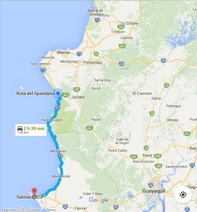 """Here is the map of the coastal drive to Salinas down the """"Ruta del Sol"""" or the """"Sun road."""" It's an incredible drive!"""