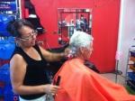 Bill getting his pre-dinner haircut