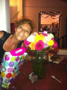 Fatima with her 50 roses that I gave for her birthday