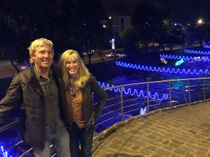 My friends, Donald & ML, at the lit up river walk