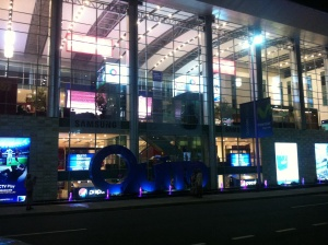 The very modern new Quito airport all lit up at night